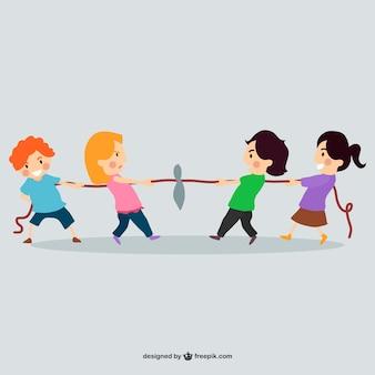 Kinder spielen mit seil