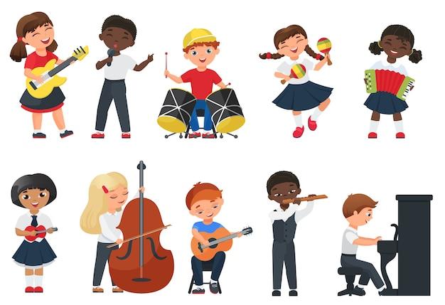 Kinder spielen musikillustration