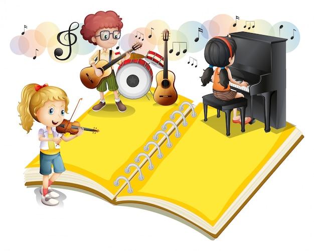 Kinder spielen musikinstrument