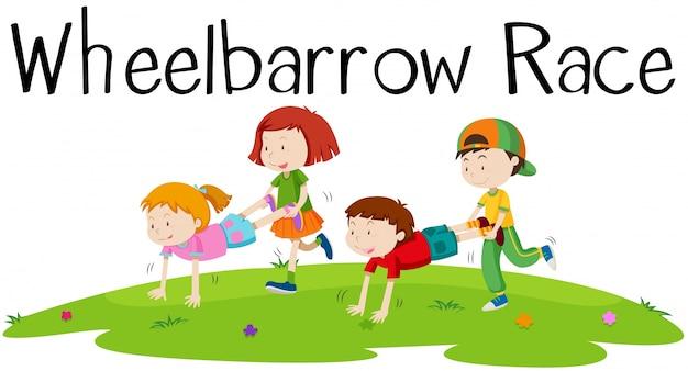 Kinder spielen schubkarren rennen illustration
