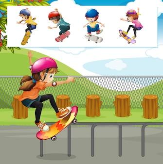Kinder spielen skateboards in park illustration