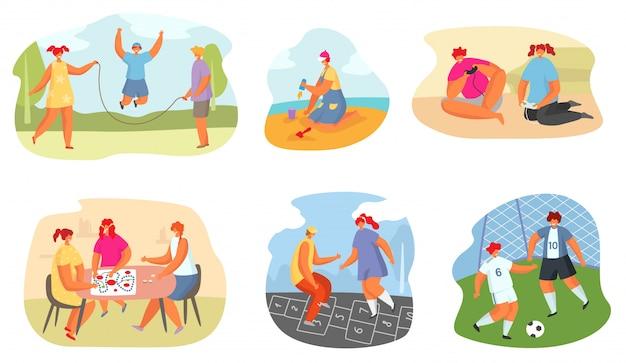 Kinder spielen spielillustration, jugendlich mädchen und junge in verschiedenen sport- und spielaktivitäten, symbolsatz