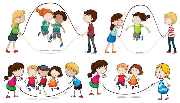 Kinder spielen springseil