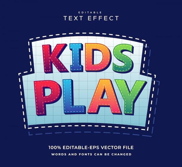 Kinder spielen texteffekt mit spaß stil