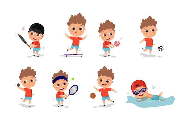 Kinder spielen verschiedene sportarten
