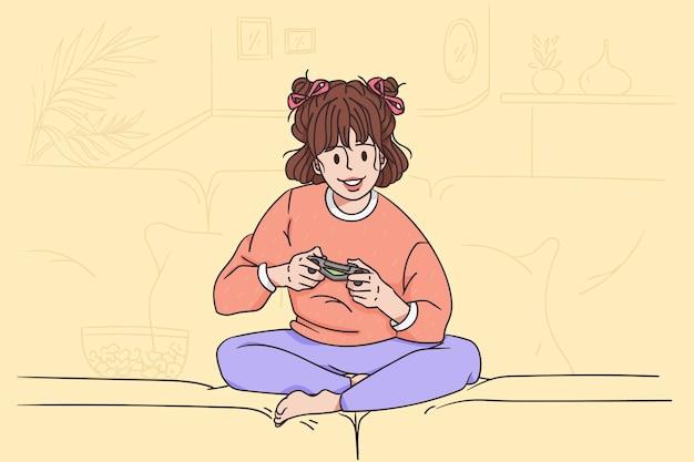 Kinder spielen videospielkonzept