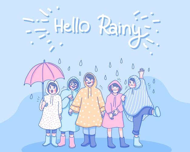 Kinder spielen zusammen im regen. zeichentrickfigur illustration.