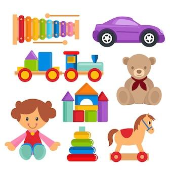 Kinder spielzeug set vektor objekt