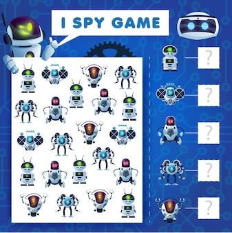 Kinder spioniere ich rätsel, cartoon-roboter-bildungsvektorspiel mit ai-cyborgs. wie viele androiden, bots und drohnen mathematiktest arbeitsblattseite für kinder. entwicklung von rechenfähigkeiten und aufmerksamkeit