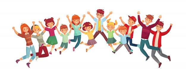 Kinder springen. der aufgeregte sprung der kinder oder illustration des zusammen trainierenden lokalisierten satzes