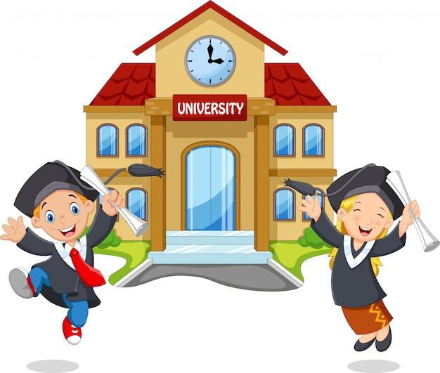 Kinder springen mit urkunden vor dem campus