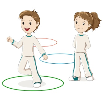 Kinder springen reifen