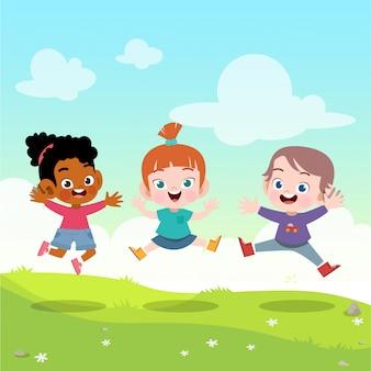 Kinder springen zusammen in die gartenvektorillustration
