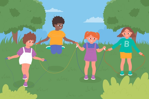 Kinder springseil spielen zusammen im kindergarten spielplatz oder im grünen stadtpark im sommer