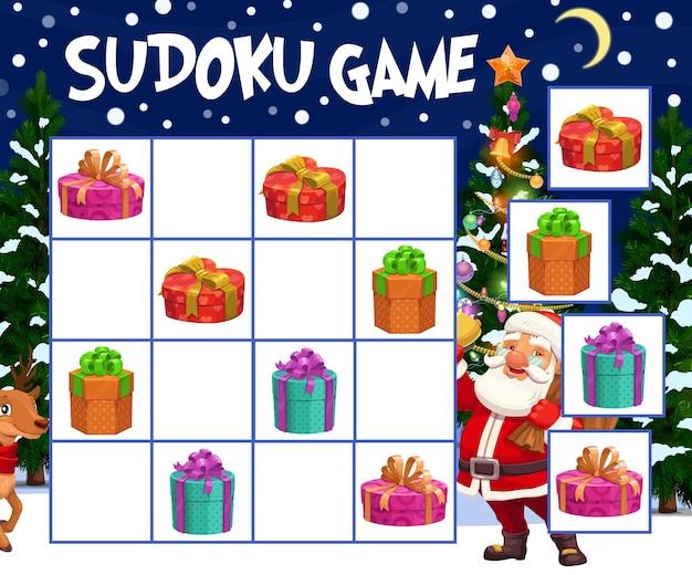 Kinder-sudoku-spiel mit weihnachtsgeschenkboxen. kinderwinterferienrätsel, kinderpuzzlelabyrinth mit verpackten und verzierten geschenken, weihnachtsmann- und rentierfiguren, weihnachtsbaumkarikaturvektor