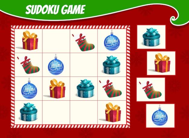 Kinder-sudoku-spiel mit weihnachtsgeschenkboxen, strumpf und verzierungskugel. kinderaktivitätsblatt, logik-trainingsrätsel oder lernspiel mit winterferiengeschenken und spielzeugkarikatur