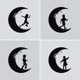 Kinder träumen davon, einen stern und einen mond zu erreichen