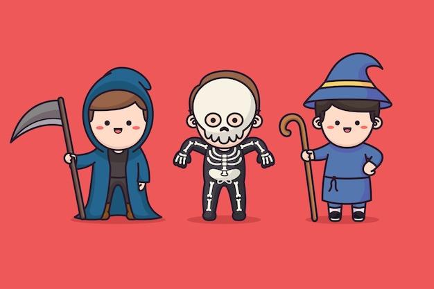Kinder tragen halloween-kostüm