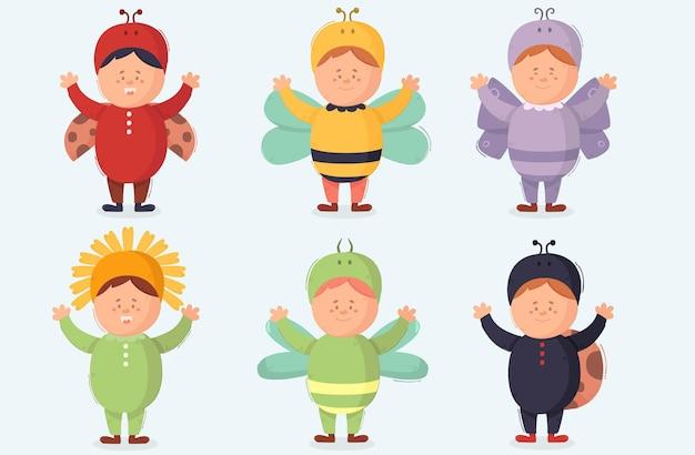 Kinder tragen kostüme illustration