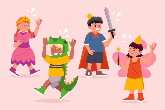 Kinder tragen niedliche karnevalskostüme