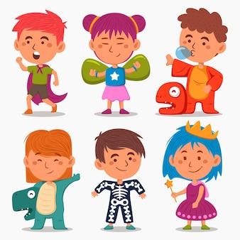 Kinder tragen verschiedene karnevalskostüme