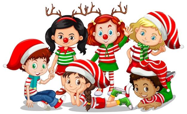 Kinder tragen weihnachtskostümkarikaturfigur auf weißem hintergrund