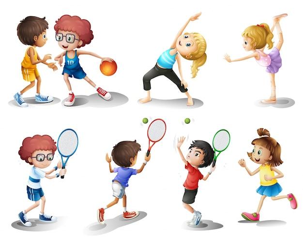 Kinder trainieren und spielen verschiedene sportarten