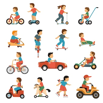 Kinder transport icons set