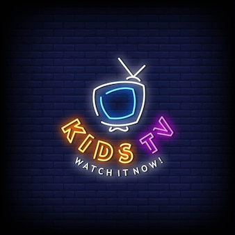 Kinder tv logo neon signs style text