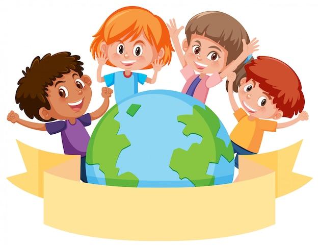 Kinder um einen globus mit fahne