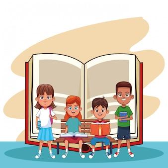 Kinder und bücher cartoons