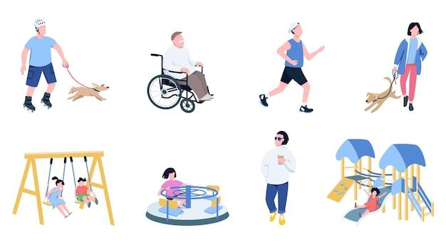 Kinder und erwachsene freizeit flache farbe gesichtslose zeichen gesetzt. männer, die joggen, mit haustieren spielen, kaffee zum mitnehmen trinken, kinder auf spielplatz isolierten karikaturillustrationen auf weißem hintergrund