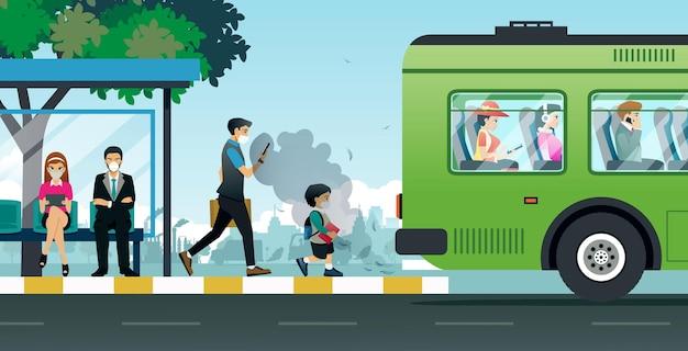 Kinder und erwachsene tragen masken, um die verschmutzung durch autos zu verhindern.