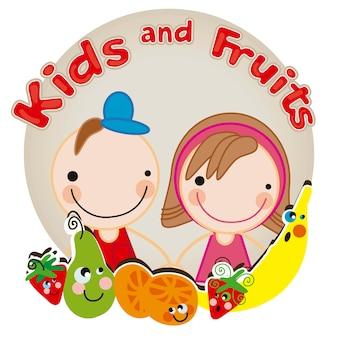 Kinder und früchte, wir sind freunde