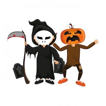 Kinder und halloween-cartoons