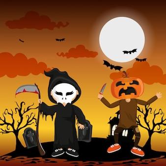 Kinder und halloween