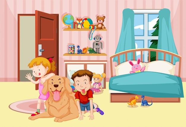 Kinder und hund im schlafzimmer