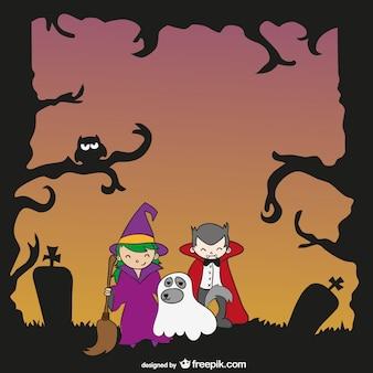 Kinder und hund mit halloween-kostümen