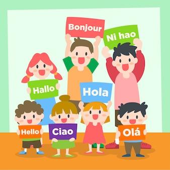 Kinder und jugendliche, die verschiedene sprache lernen