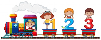 Kinder und Nummer im Zug