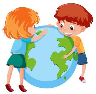Kinder und Planet Erde