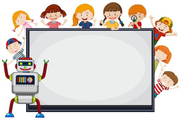 Kinder und roboter um rahmen