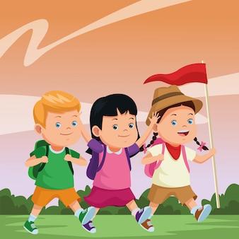 Kinder- und sommercamp-cartoons