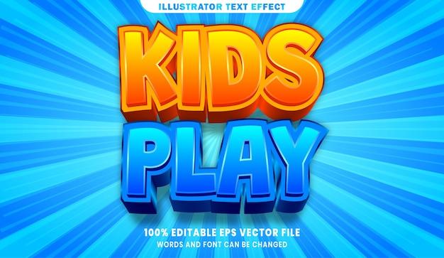 Kinder und spielen bearbeitbaren textstil-effekt