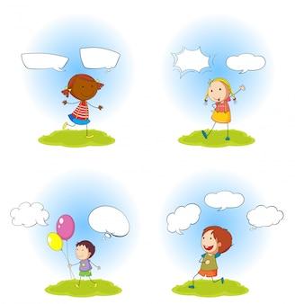 Kinder und sprechblasen gesetzt