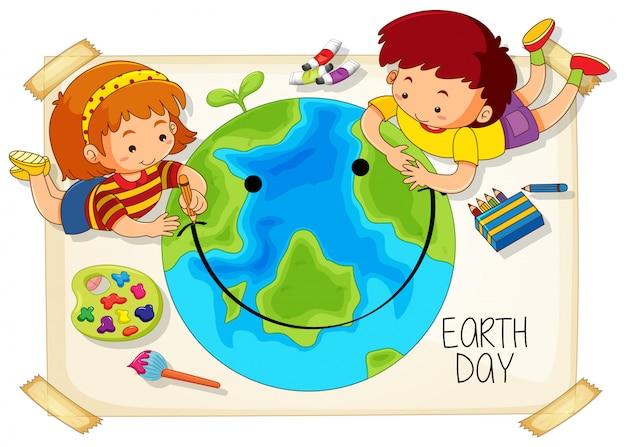 Kinder und tag der erde-symbol