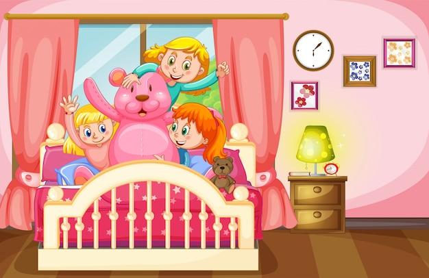 Kinder und teddybär im schlafzimmer