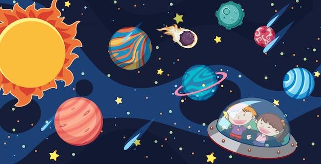 Kinder und ufo in der milchstraße