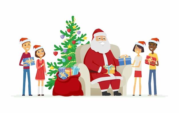 Kinder und weihnachtsmann - zeichentrickfilm-figuren lokalisierten illustration auf weißem hintergrund. internationale jungen, mädchen bekommen geschenke von väterchen frost. schöne komposition mit sessel und weihnachtsbaum