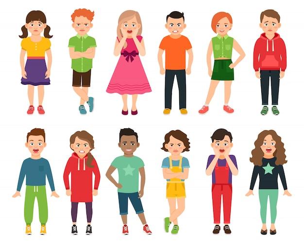 Kinder vektor-illustration. stehende kinder-, jungen- und mädchenjugendliche lokalisiert